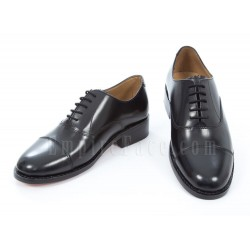 Oxford Shoes - Plain Black Leather with Plain Black Leather Toe Cap
