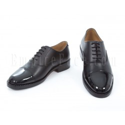 Oxford Shoes - Plain Black Leather with Patent Leather Toe Cap