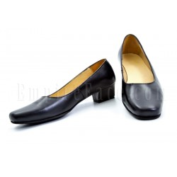 Plain Black Leather Female Court Shoes