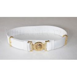 White Matt PVC Parade Belt with Tongue & Loop