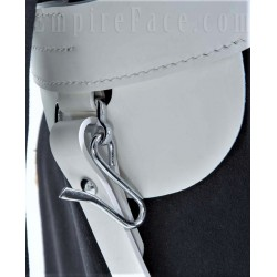 White Gloss PVC, W.O.s Ceremonial Sword Belt with Chrome/Gold Finish Fittings