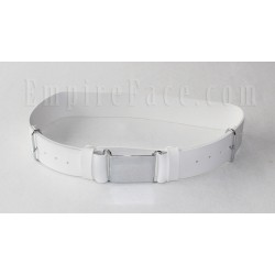 White Matt / Gloss PVC Parade Belt with Chrome Buckles
