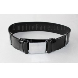 Black Gloss PVC Parade Belt with Chrome Buckles
