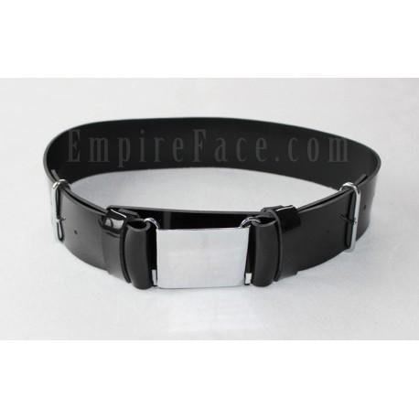 Black Gloss PVC Parade Belt with Chrome Buckles