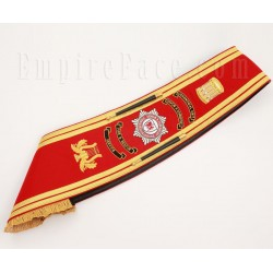 Custom Made Drum Major Pipe Band Red Baldric Sash