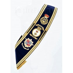 Custom Made Drum Major Pipe Band Dark Blue Baldric Sash