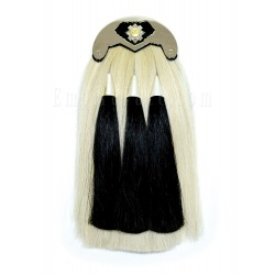 Black Leather Scots Guards Real Horse Hair Sporran