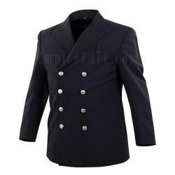 Navy Blue Prestige Wool-Blend Double-Breasted BlouseCoat