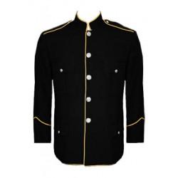 Black Honor Guard Standing Collar Dress Blouse Coat