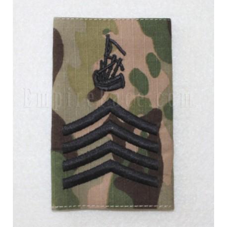 Multicam Rank Slide, Pipe Major, Black Embroidery